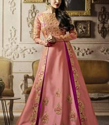Buy Baby pink multi resham work silk salwar with dupatta malaika-arora-khan online