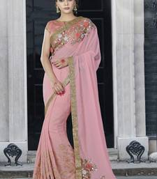 Buy Baby pink embroidered chiffon saree with blouse wedding-saree online