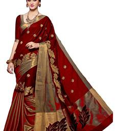 Buy maroon printed Cotton Silk saree With blouse printed-saree online