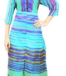 Buy Blue printed stitched chiffon-kurtis chiffon-kurti online