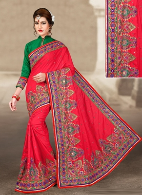 Light red hand woven manipuri silk saree with blouse