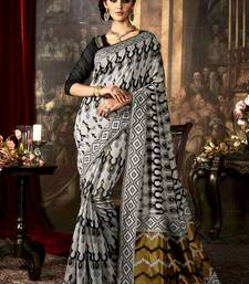 Buy Grey woven poly cotton saree with blouse south-indian-saree online