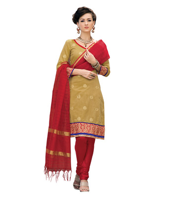 Ethnicbasket Pure Chanderi Biscuit Colored Dress Material.