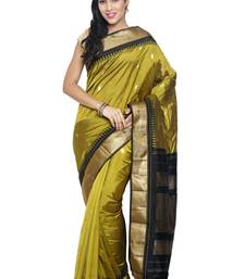 Buy Green silk saree with blouse pongal-dhoti-saree online