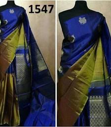 Buy Blue printed silk saree with blouse below-1500 online