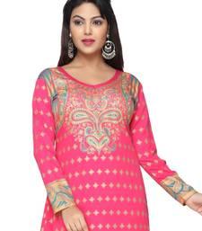 Buy Pink American Crepe Printed Long Kaftan  with Long Sleeves kaftan online