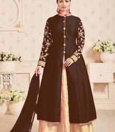 Buy Dark brown embroidered satin salwar with dupatta semi-stitched-salwar-suit online