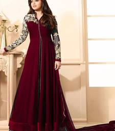Buy Maroon embroidered georgette salwar with dupatta anarkali-salwar-kameez online
