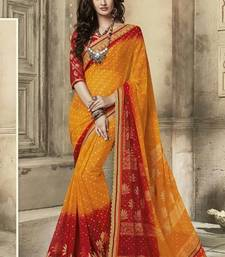 Buy Orange embroidered chiffon saree with blouse great-indian-saree-festival online
