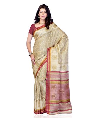 Beige And Pink Color Art Silk Party Wear Fancy Saree