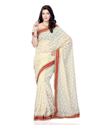 Beige Color Brasso Bollywood Party Wear Designer Saree