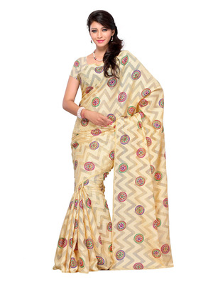 Beige Color Brasso PartyFestival Wear Fancy Saree