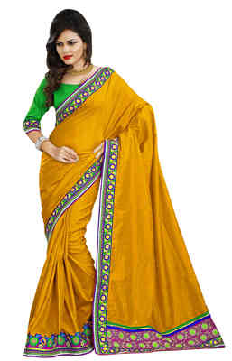 Yellow Border Worked Manipuri Silk Saree With Blouse