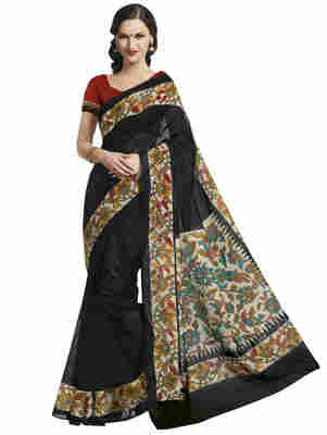 Black Printed Bhagalpuri Silk Saree With Blouse