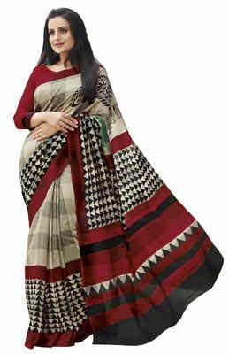 Beige Printed Bhagalpuri Silk Saree With Blouse
