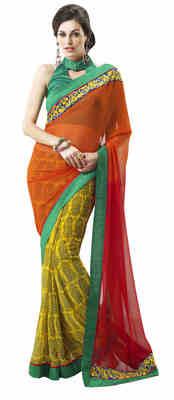 Yellow Printed Chiffon Saree With Blouse