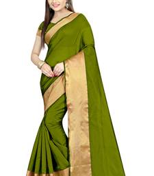 Buy Mehendi hand woven cotton saree with blouse cotton-saree online
