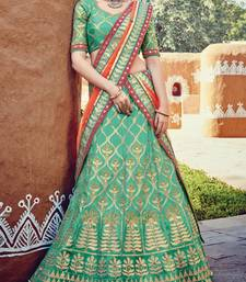 Buy Green embroidered silk semi-stitched lehenga with dupatta lehenga online