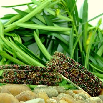 Designer Red and Green Crystal Lakh Bangle Set