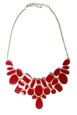 Red Enamel Collar Necklace