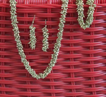 Tiny Gold Beads Choker Necklace, Earrings & Bracelet Set