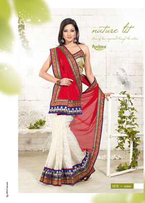 Foreever Red & Off White Chiffon Saree