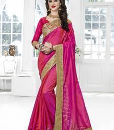 Buy Magenta embroidered silk saree with blouse silk-saree online
