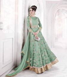 Buy Green embroidered net salwar with dupatta abaya-suit online