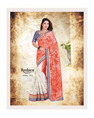 Debonair Orange & White cotton Saree With Embroidery Work
