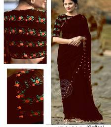 Buy Brown hand woven faux georgette saree with blouse georgette-saree online