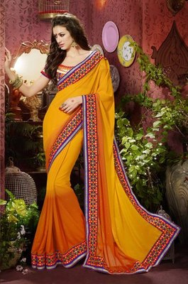 Orange Partywear Designer Georgette Saree