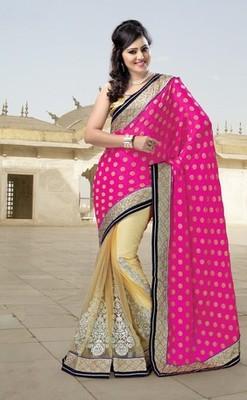 Pink Partywear Designer Net Saree