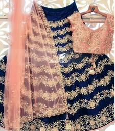 Buy Navy blue embroidered satin unstitched lehenga with dupatta lehenga-choli online