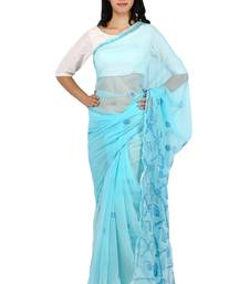 Buy Sky blue embroidered georgette saree with blouse designer-embroidered-saree online