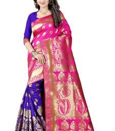 Buy Pink woven poly cotton saree with blouse kanchipuram-silk-saree online