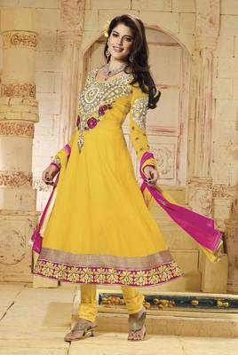 Yellow Colored Georgette Embroidered Salwar Suit