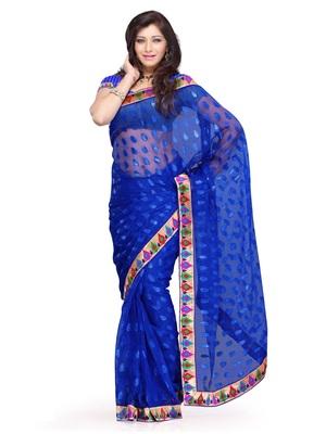 Blue Color Jacquard FestivalParty Wear Designer Saree