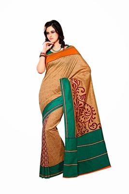 Golden and Green Color Raw Silk Saree