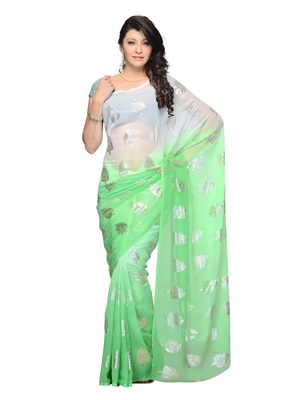 Green Color Georgette Casual Wear Fancy Saree