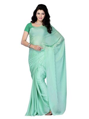 Green Color Georgette CasualOffice Wear Fancy Saree