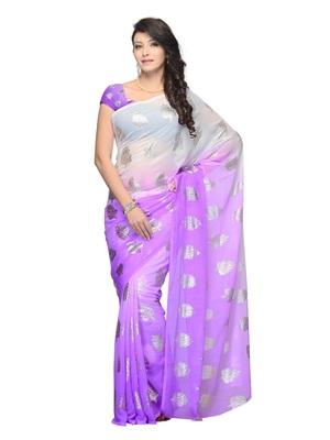 Lavender Color Georgette Casual Wear Fancy Saree
