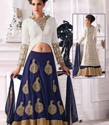 Buy White embroidered silk semi stitched indo western lehenga choli with dupatta (Premium quality) ethnic-suit online