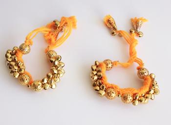 Ghungroo Latkan Punchi Bracelet - Yellow