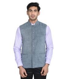 Buy Maroon Plain Poly Cotton Round Neck MEN nehru-jacket online