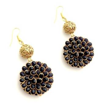 Black Pachiwork Ring Danglers with Vintage bead