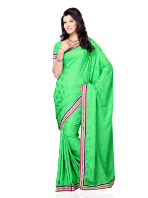 Parrot Green Color Jacquard Bollywood Party Wear Designer Saree