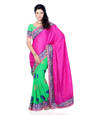 Pink And Green Color Jacquard And Georgette Bollywood Party Wear Designer Saree