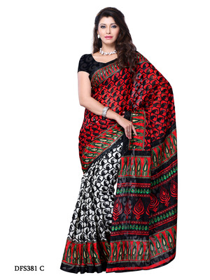 Red And Black Color Art Silk Party Wear Fancy Saree