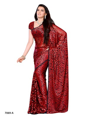 Red Color Brasso CasualPartywear Saree With Fancy Fabric