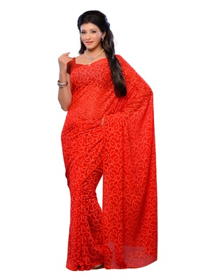 Red Color Jacquard Party Wear Fabcy Saree